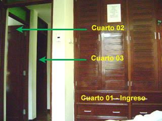 Vista del Cuarto 01 e ingresos de cuartos 02 y 03